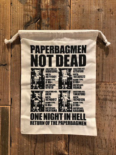 画像1: PAPERBAGMAN NOT DEAD 巾着袋 (NT-Lサイズ) (1)
