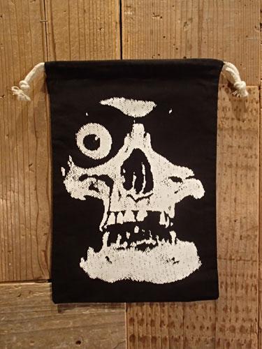 画像1: SKULL 巾着袋 (BK-Lサイズ) (1)