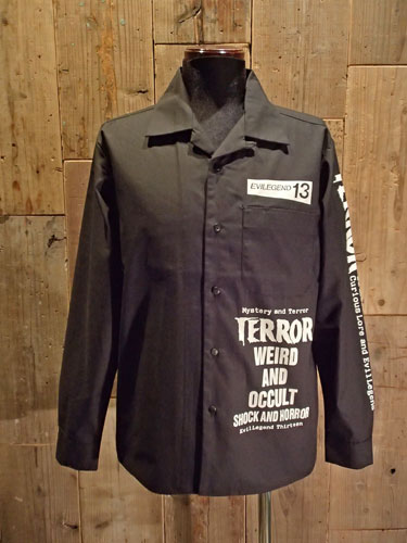 画像1: TERROR WEIRD & OCCULT OPEN COLLAR LONG SLEEVE SHIRT (1)