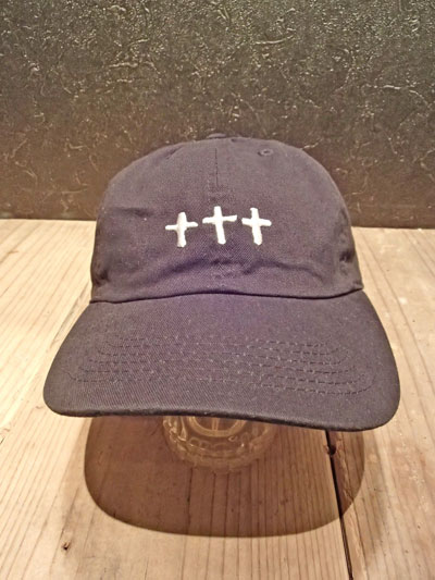 画像1: CROSS COTTON CAP (BK) (1)