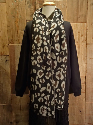 画像1: Leopard Muffler (BLACK) (1)